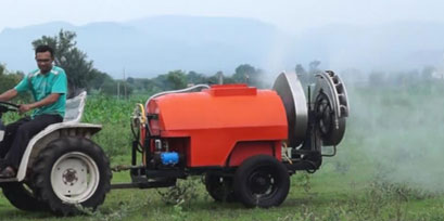 Tractor operated blowing orchard sprayer By Rajendra